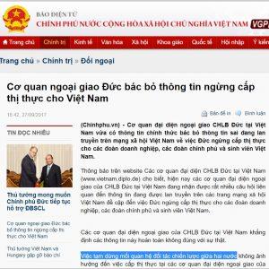 """Nhờ vụ visa, báo chí trong nước đăng """"việc tạm dừng mối quan hệ đối tác chiến lược giữa hai nước"""" Đức và Việt Nam"""
