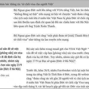 Bộ Ngoại giao Đức xác nhận có một số vấn đề về việc cấp hẹn xin visa của Đoàn đại biểu cấp cao tỉnh Thanh Hóa