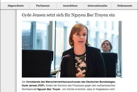 Chủ tịch Ủy ban Nhân quyền Quốc hội Đức nhận bảo trợ cho ông Nguyễn Bắc Truyển