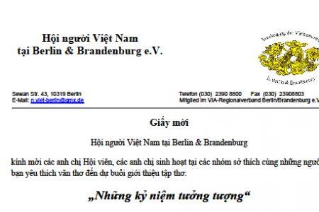 Hội người Việt Nam tại Berlin-Brandenburg mời tham dự giới thiệu thơ