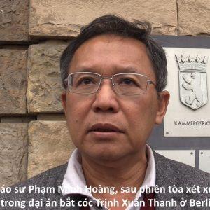 PV. Giáo sư Phạm Minh Hoàng, sau phiên tòa xét xử nghi phạm mật vụ Việt Nam bắt cóc Trịnh Xuân Thanh ở Berlin (19.6.2018)