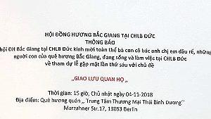 Thông báo của Hội đồng hương Bắc Giang tại CHLB Đức