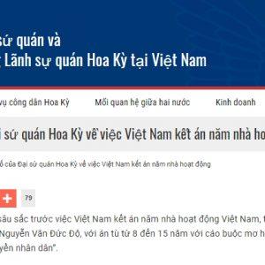Tuyên bố của Đại sứ quán Hoa Kỳ về việc Việt Nam kết án năm nhà hoạt động