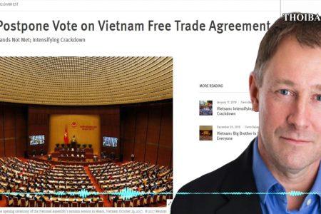 """Tổ chức theo dõi, bảo vệ quyền con người trên toàn thế giới ( HRW ): """" Liên minh châu Âu hãy hoãn bỏ phiếu về Hiệp định Thương mại Tự do với Việt Nam"""""""