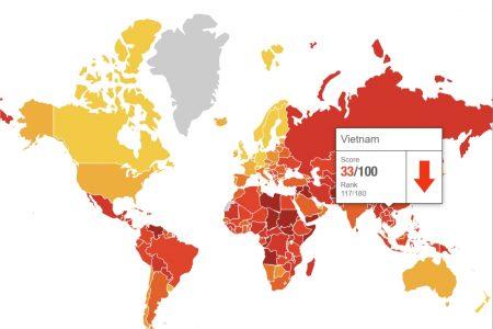 """Sau chiến dịch """"đốt lò"""", Việt Nam bị tụt 10 bậc trong bảng xếp hạng về tham nhũng trên thế giới"""