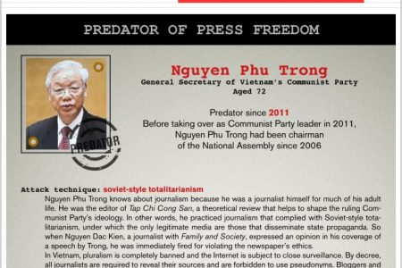 Tổ chức Phóng viên không biên giới gọi Nguyễn Phú Trọng là Tên tội phạm của Tự do Báo chí