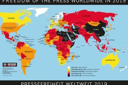 Việt Nam bị tụt một hạng trong bảng xếp hạng Tự do Báo chí năm 2019 và là một trong 5 nước đàn áp báo chí dữ dội nhất thế giới