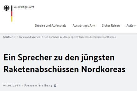 Tuyên bố báo chí của Bộ Ngoại giao Đức về những vụ bắn tên lửa mới đây của Bắc Hàn