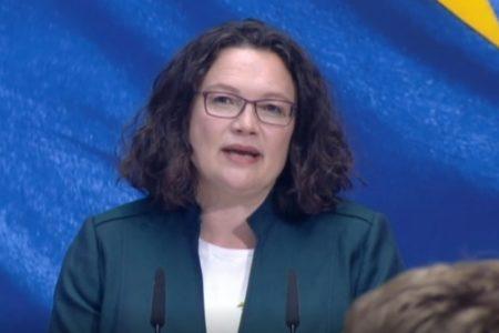 Bà Andrea Nahles, Chủ tịch đảng Dân chủ Xã hội Đức (SPD) tuyên bố từ chức