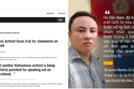 Ân Xá Quốc tế kêu gọi Việt Nam trả tự do cho Hà Văn Nam trước phiên xử