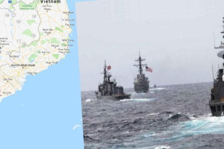 Tập trận Mỹ, Việt Nam đưa tàu nát – Tới Trung Quốc, Hà Nội điều chiến hạm