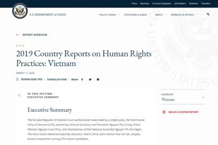 The U.S. State Department strongly condemns the human rights situation in Vietnam in 2019