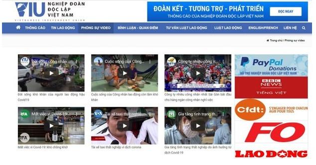 Website của Nghiệp đoàn Độc lập Việt Nam (VIU)