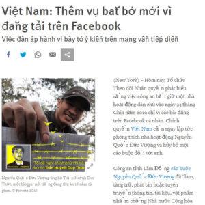 Vietnamese court sentences Facebooker Nguyen Quoc Duc Vuong to 8 years in prison