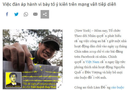 Vietnamese court sentences Facebooker Nguyen Quoc Duc Vuong to 8 years in prison