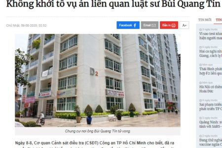 Interest group ignores Bui Quang Tin's death