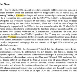 UN publishes reports of government intimidation and retaliation cases in Vietnam