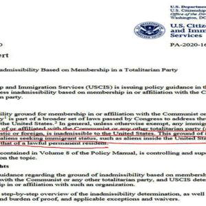 Mỹ ra quy định cấm đảng viên cộng sản nhập cư, nhập tịch