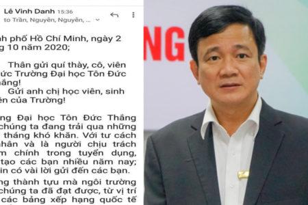 Suspended Rector Prof. Le Vinh Danh defends lecturer Dr. Pham Dinh Quy