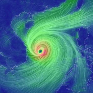 Forecast of typhoon MOLAVE with super destruction capacity