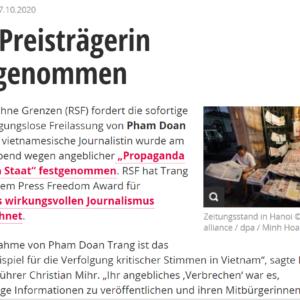 Tổ chức Phóng viên Không Biên giới yêu cầu trả tự do cho Phạm Đoan Trang