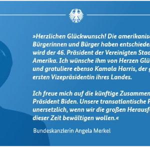 Thủ tướng Đức Merkel, Tổng thống Pháp Macron và Thủ tướng Anh Johnson chúc mừng tân Tổng thống Hoa Kỳ Biden.