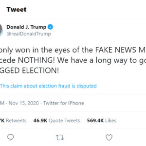 Trump lần đầu tiên nói Biden 'thắng vì kỳ bỏ phiếu bị gian lận'
