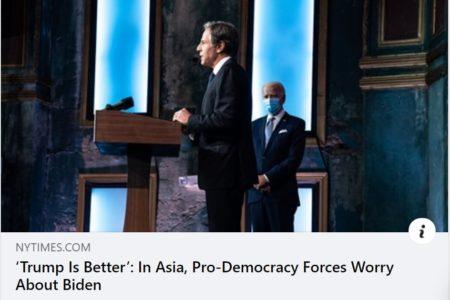 """""""Trump là tốt hơn"""": Ở châu Á, các lực lượng ủng hộ dân chủ lo ngại về Biden"""