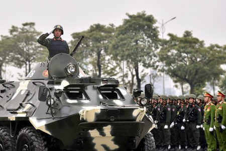 Vietnam's police and army conduct live drill in Hanoi prior to the 13th Party National Congress