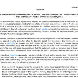 Nearly 500 world organizations condemn Vietnam and other countries for blocking UN from heavily criticizing Myanmar's army